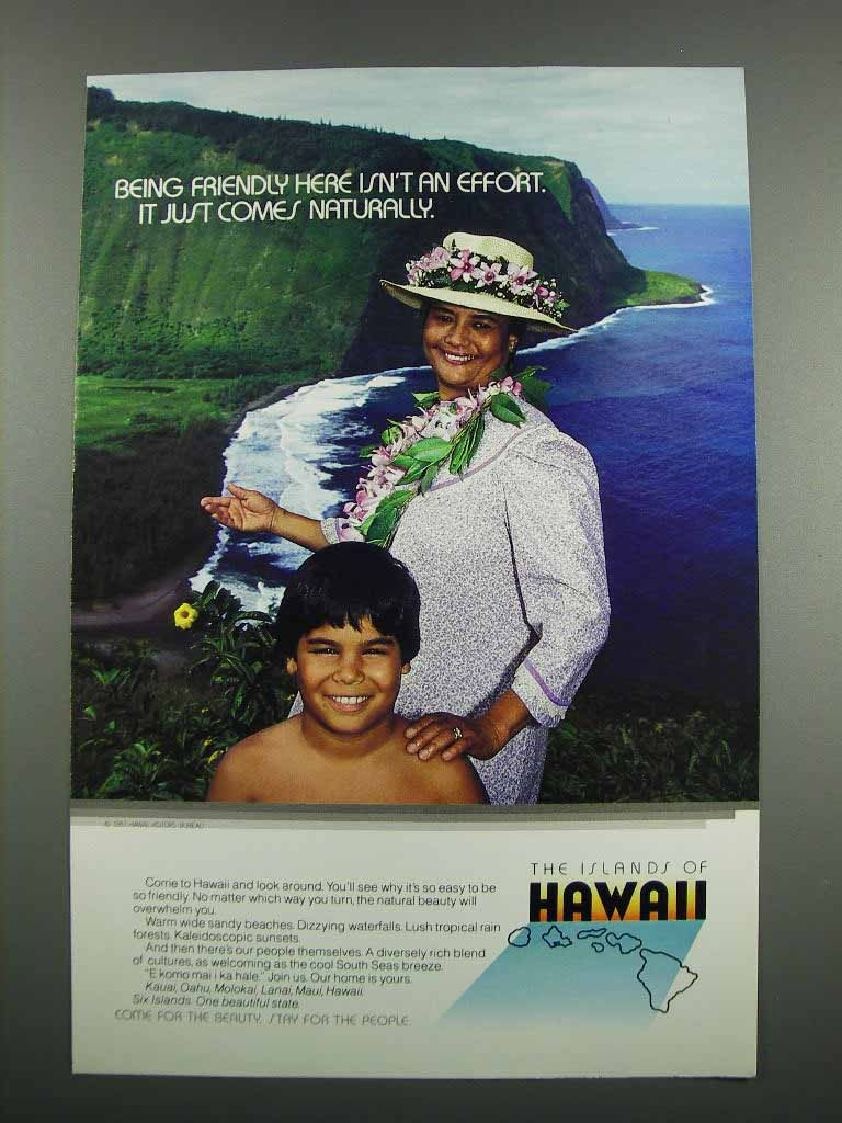 Primary image for 1983 Hawaii Tourism Ad - Being Friendly Here