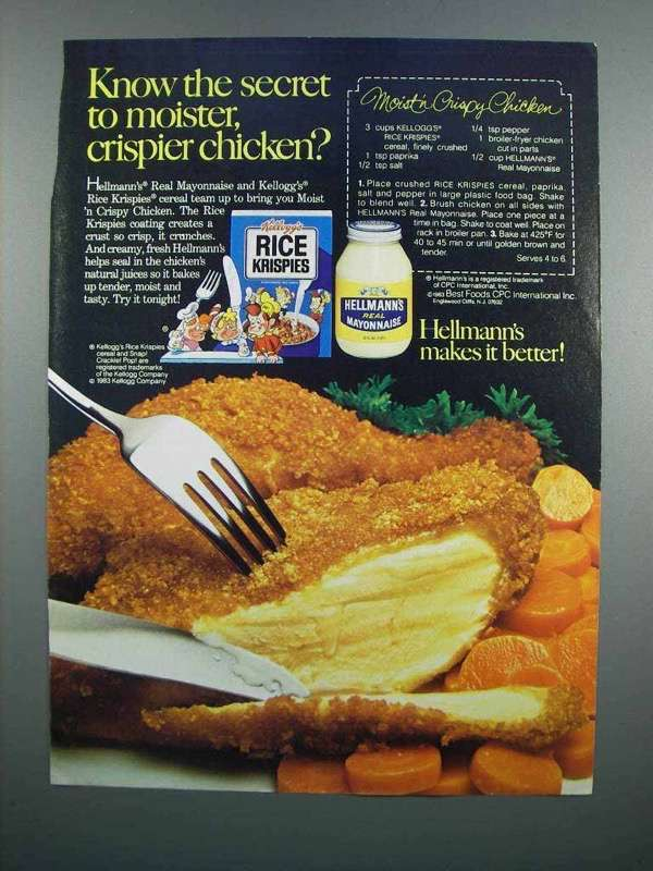 Primary image for 1983 Hellmann's Mayonnaise & Kellogg's Rice Krispies Ad