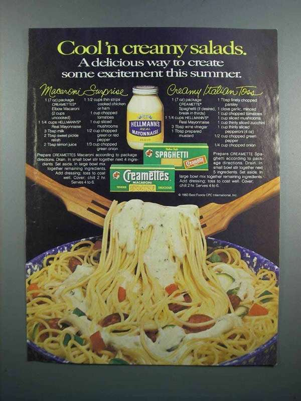 Primary image for 1983 Hellman's Mayonnaise & Creamettes Macaroni Ad