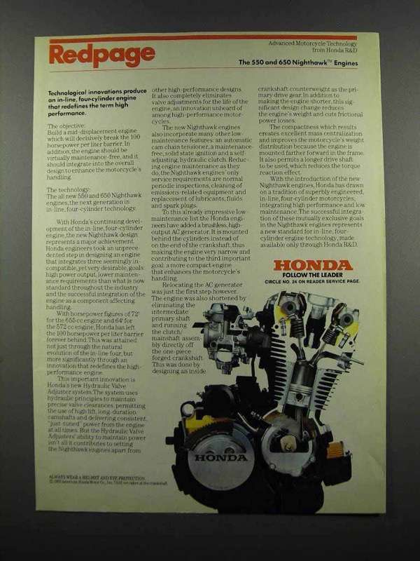 Primary image for 1983 Honda 550 and 650 Nighthawk Engines Ad