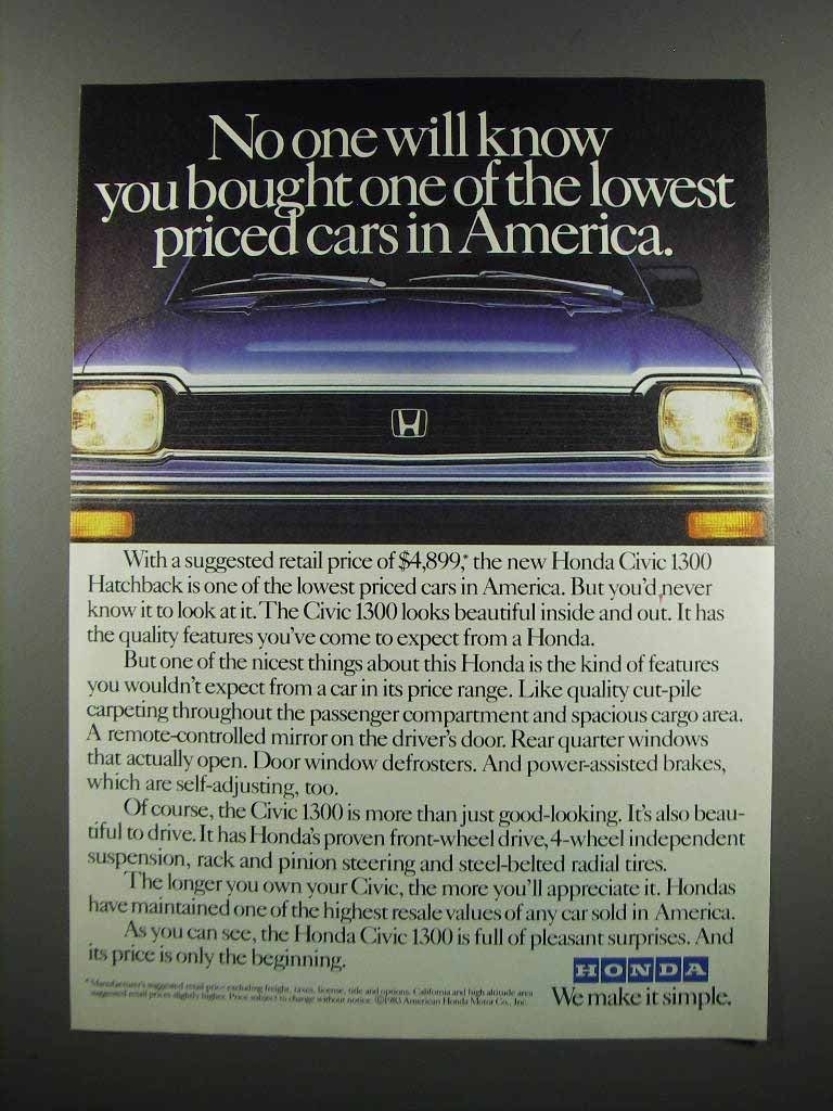 Primary image for 1983 Honda Civic 1300 Hatchback Ad - Lowest Priced