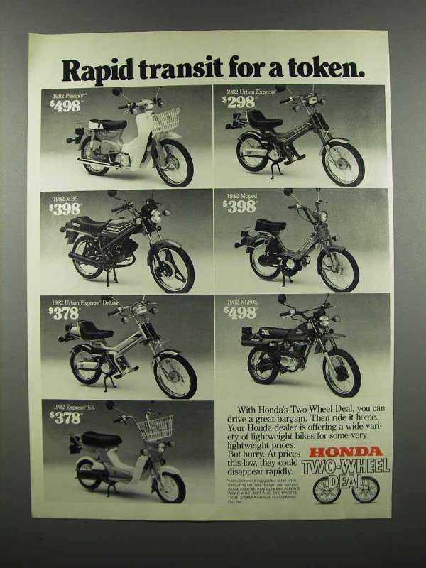 Primary image for 1983 Honda Ad - Passport, Urban,  MB5, Moped, XL80S