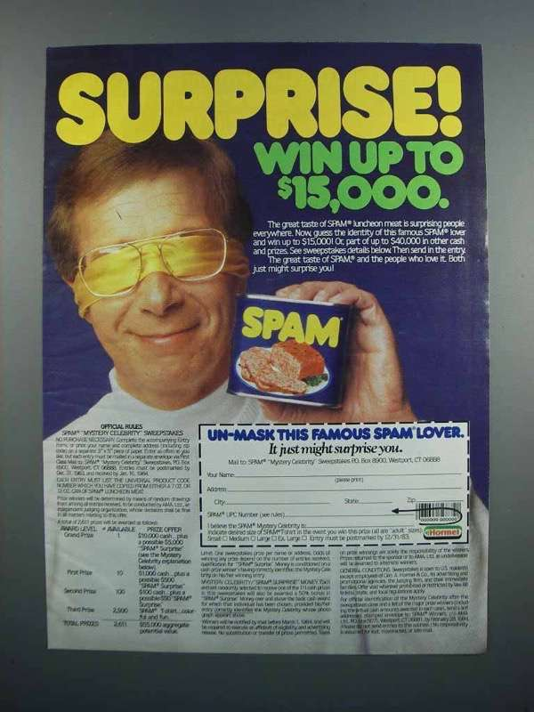 Primary image for 1983 Hormel SPAM Ad - Surprise!