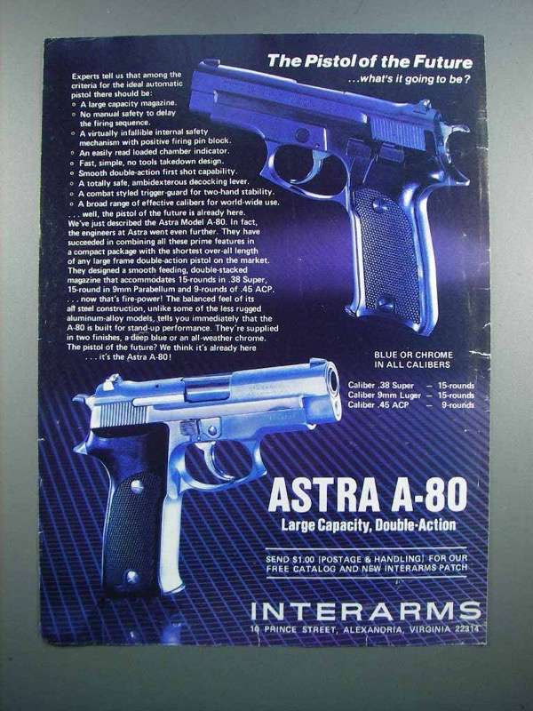 Primary image for 1983 Interarms Astra A-80 Pistol Ad - the Future