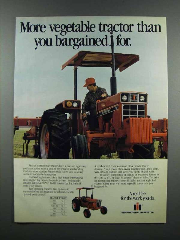 Primary image for 1983 International Harvester 584 Tractor Ad - Vegetable