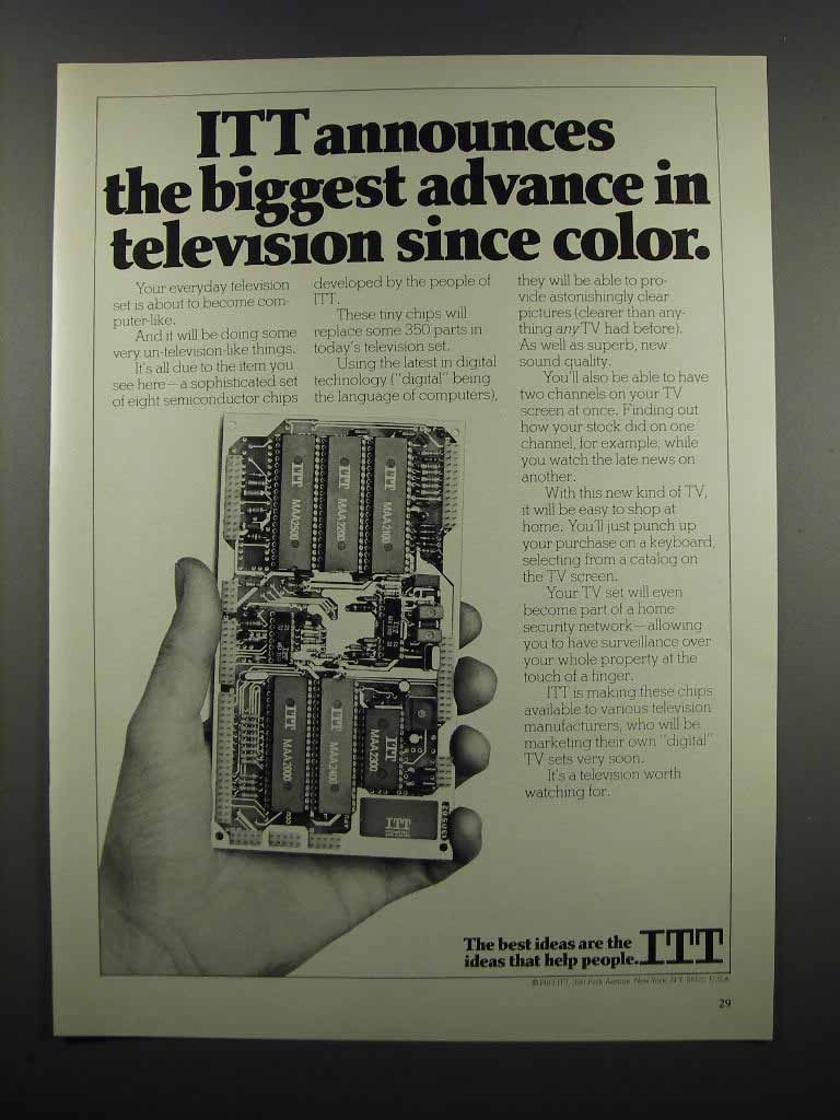 Primary image for 1983 ITT Semiconductor Chips Ad - Biggest Advance