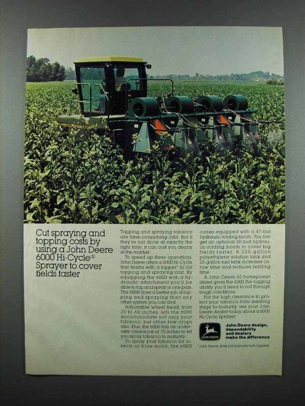 Primary image for 1983 John Deere 6000 Hi-Cycle Sprayer Ad - Cut Costs