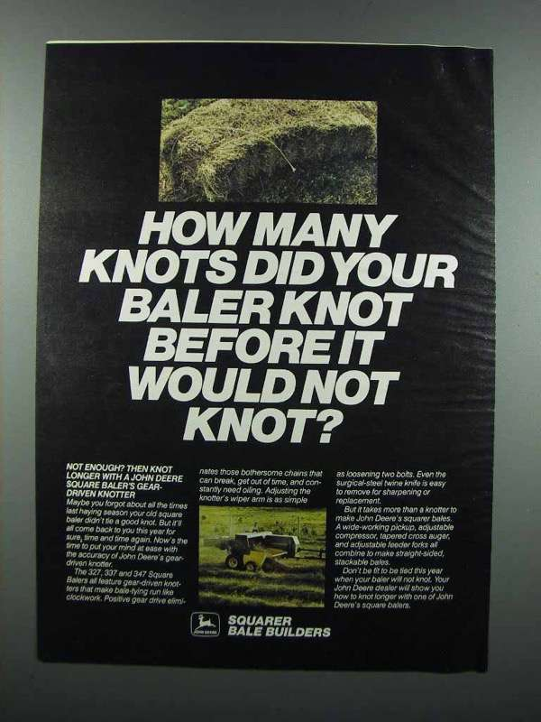 Primary image for 1983 John Deere Square Baler Ad - How Many Knots