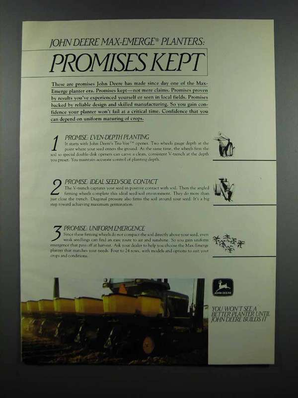 Primary image for 1983 John Deere Max-Emerge Planter Ad - Promises Kept
