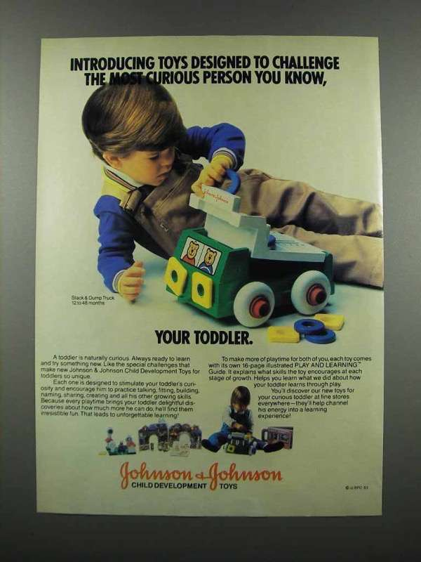 Primary image for 1983 Johnson & Johnson Stack & Dump Truck Toy Ad