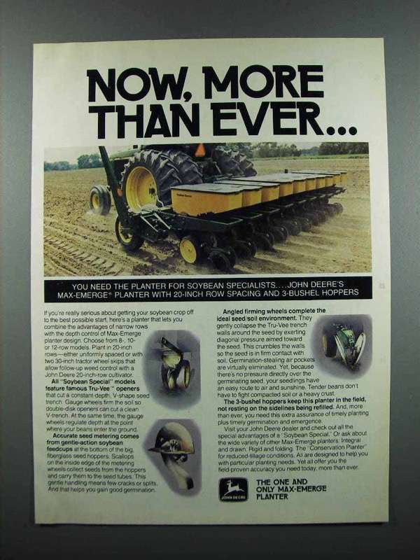 Primary image for 1983 John Deere Max-Emerge Planter Ad - More Than Ever