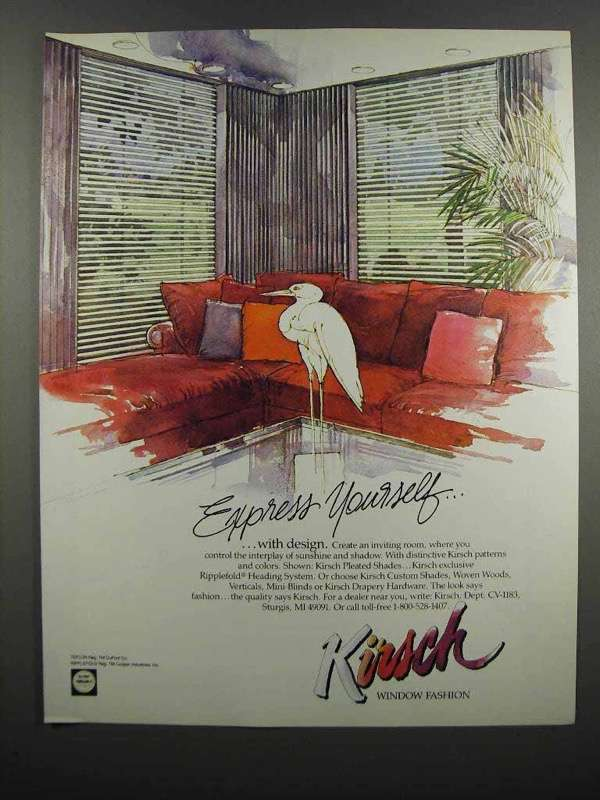 Primary image for 1983 Kirsch Pleated Shades Ad - Express Yourself