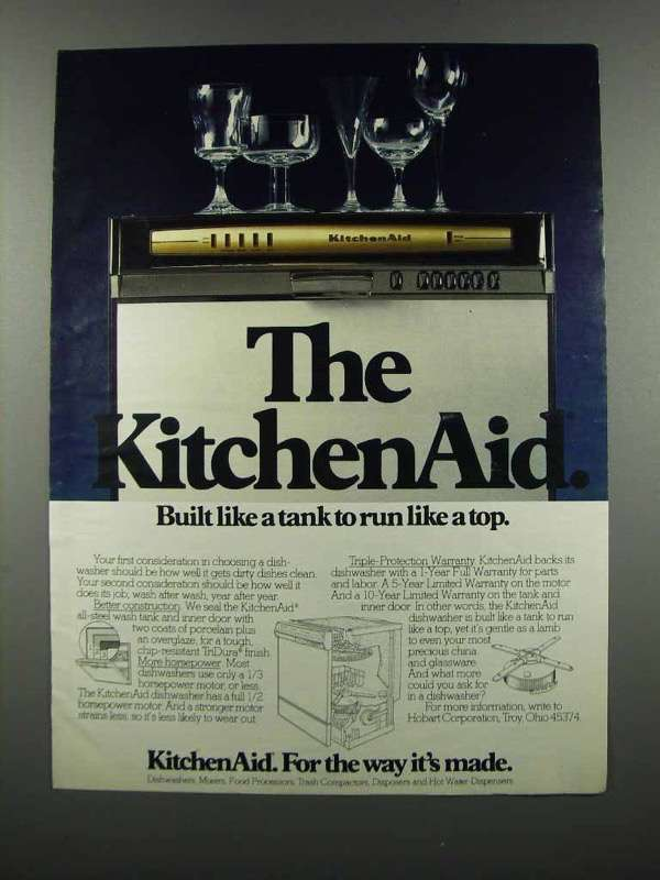 Primary image for 1983 KitchenAid Dishwasher Ad - Built Like a Tank