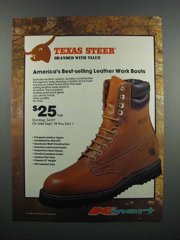 Primary image for 1983 Kmart Texas Steer Boots Ad - Branded With Value