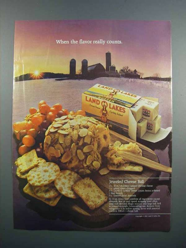 Primary image for 1983 Land O Lakes Butter Ad - Jeweled Cheese Ball
