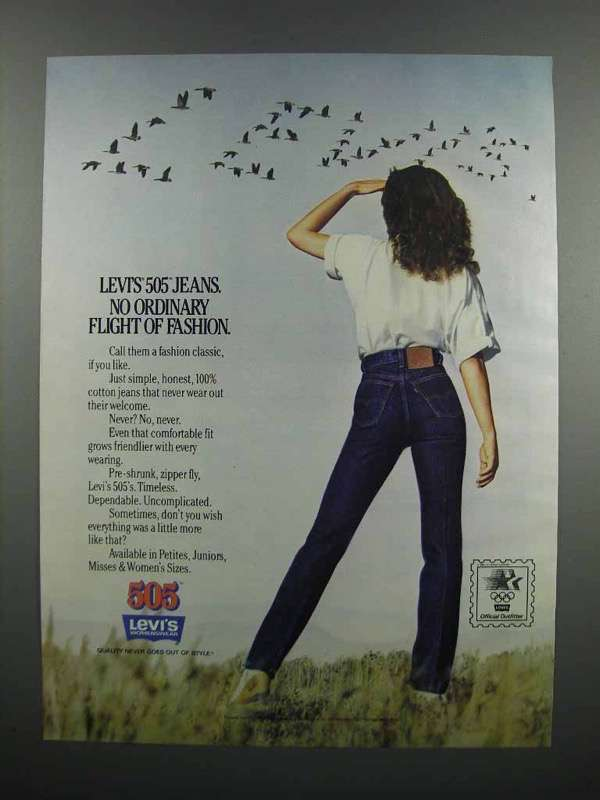 Primary image for 1983 Levi's 505 Jeans Ad - Flight of Fashion