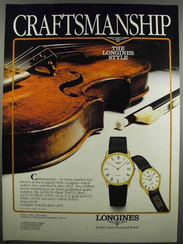 Primary image for 1983 Longines 21852 & 12781 Watch Ad - Craftsmanship