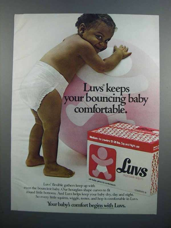 Primary image for 1983 Luvs Diapers Ad - Keeps Bouncing Baby Comfortable