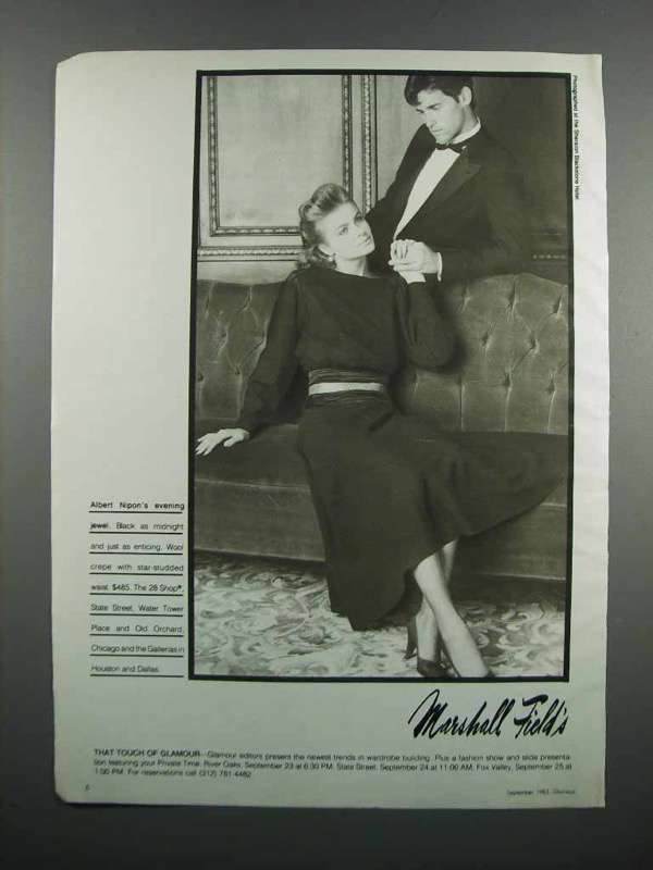 Primary image for 1983 Marshall Field's Albert Nipon Dress Ad