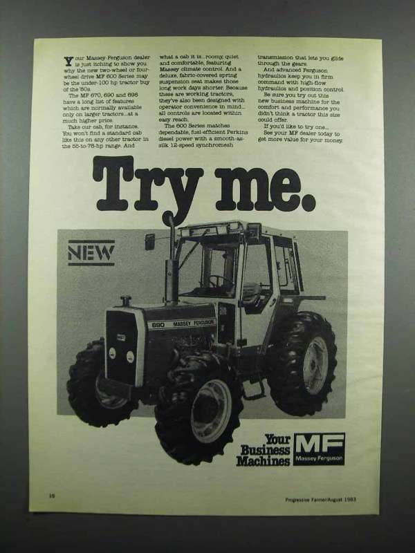 Primary image for 1983 Massey Ferguson 690 Tractor Ad - Try Me