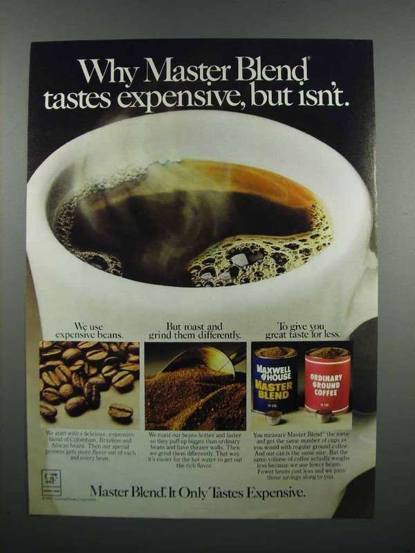 Primary image for 1983 Maxwell House Master Blend Coffee Ad - Expensive