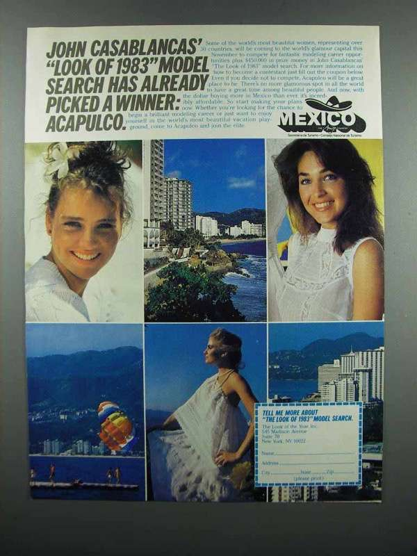 Primary image for 1983 Mexico Tourism Ad - John Casablancas Model