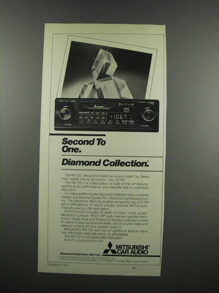 Primary image for 1983 Mitsubishi RX-735 Car Stereo Ad - Second to One