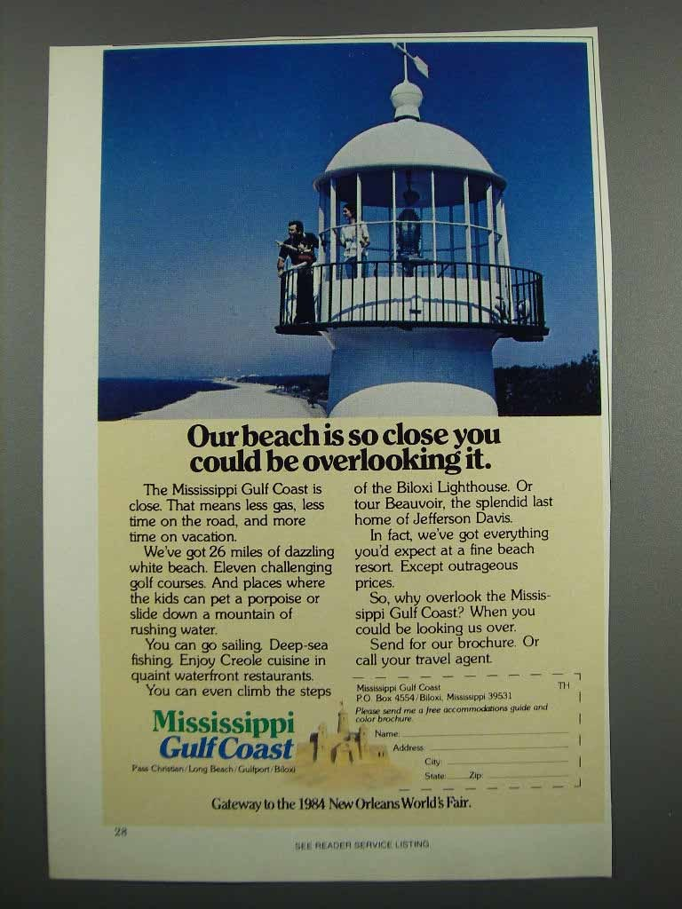 Primary image for 1983 Mississippi Gulf Coast Ad - Our Beach is So close