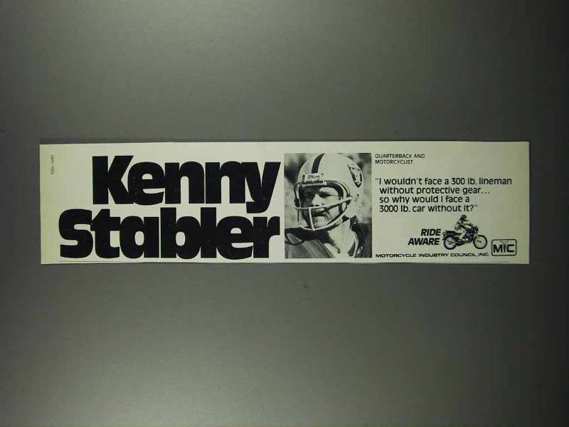 Primary image for 1983 Motorcycle Industry Council Ad - Kenny Stabler