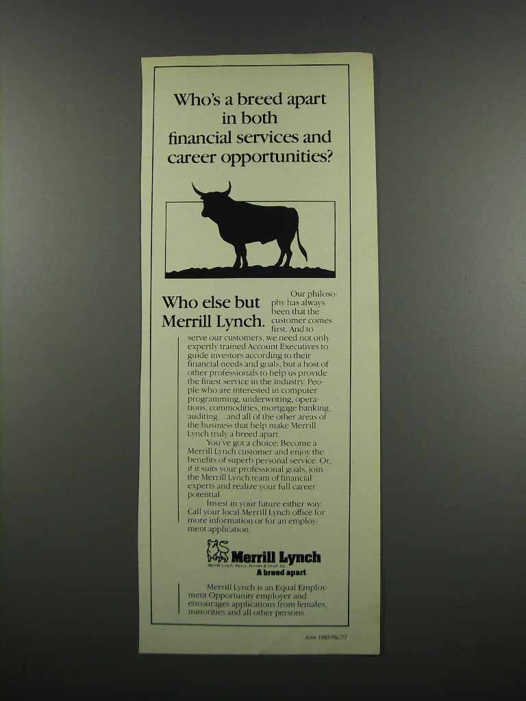Primary image for 1983 Merrill Lynch Ad - Who's a Breed Apart