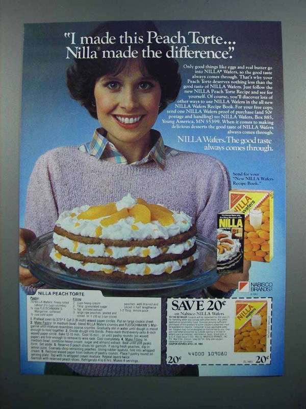 Primary image for 1983 Nabisco Nilla Wafers Ad - Peach Torte