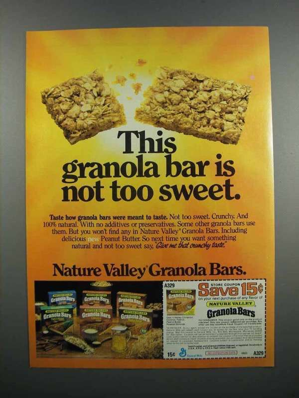 Primary image for 1983 Nature Valley Granola Bars Ad - Not Too Sweet