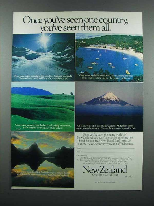 Primary image for 1983 New Zealand Tourism Ad - Seen One Country