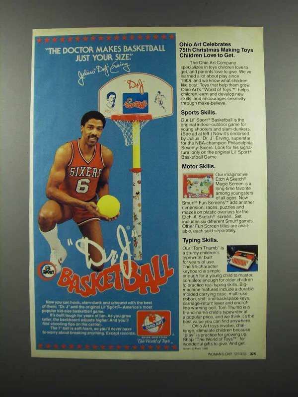 Primary image for 1983 Ohio Art Lil' Sport Basketball Ad -Dr. J Erving