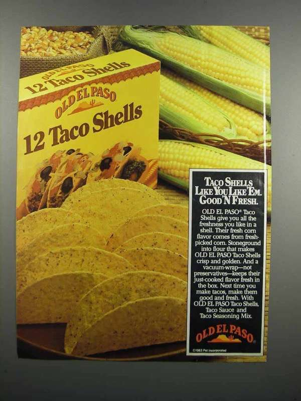 Primary image for 1983 Old El Paso Taco Shelss Ad - Good'N Fresh