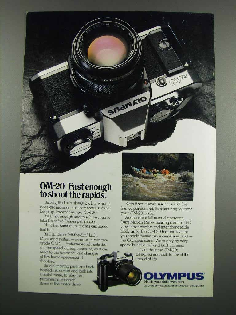 Primary image for 1983 Olympus OM-20 Camera Ad - Shoot the Rapids
