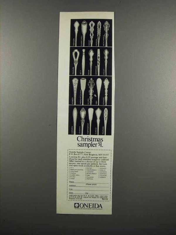 Primary image for 1983 Oneida Silverware Ad - Christmas Sampler