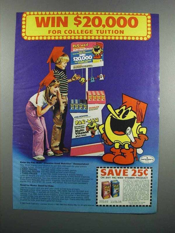 Primary image for 1983 Pac-Man Vitamins Ad - For College Tuition
