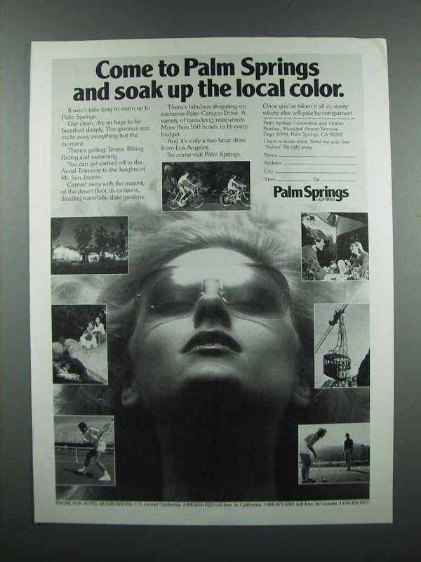 Primary image for 1983 Palm Springs California Ad - Soak up Local Color