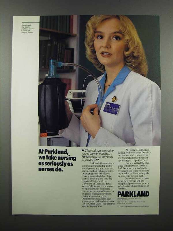 Primary image for 1983 Parkland Nurse Recruitment Ad - Take Seriously