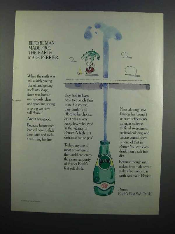 Primary image for 1983 Perrier Water Ad - Before Man Made Fire
