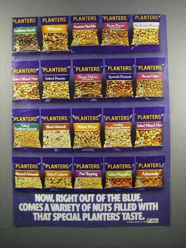 Primary image for 1983 Planters Nuts Ad - Right Out of the Blue