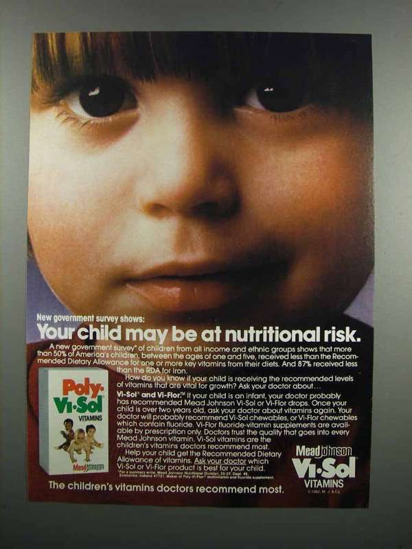 Primary image for 1983 Poly-Vi-Sol Vitamins Ad - Nutritional Risk