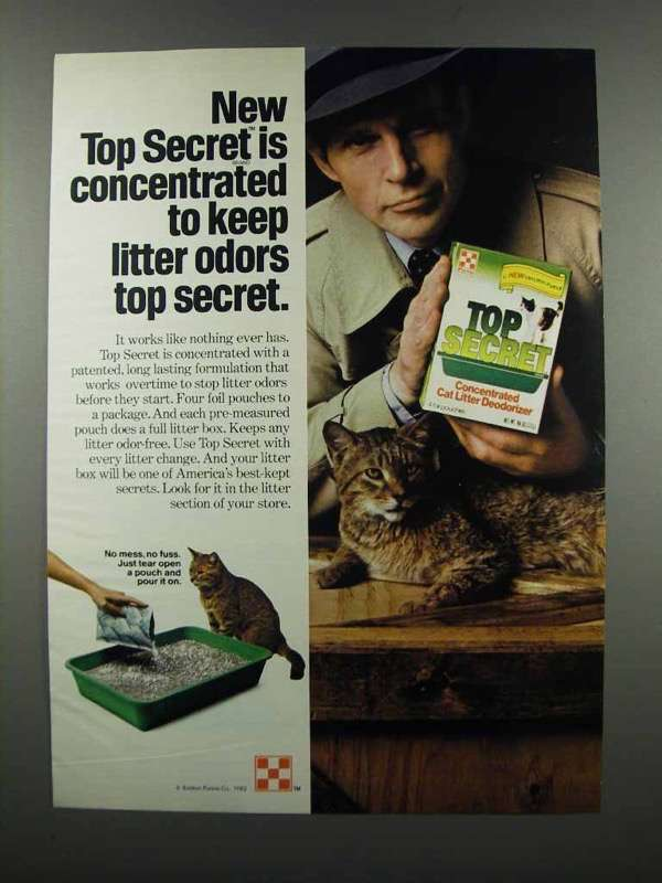 Primary image for 1983 Purina Top Secret Cat Litter Ad - Concentrated