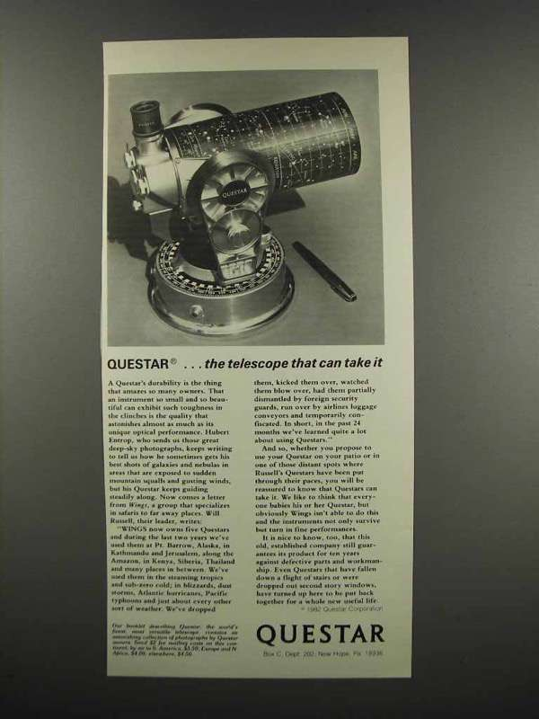 Primary image for 1983 Questar Telescopes Ad - Can Take It