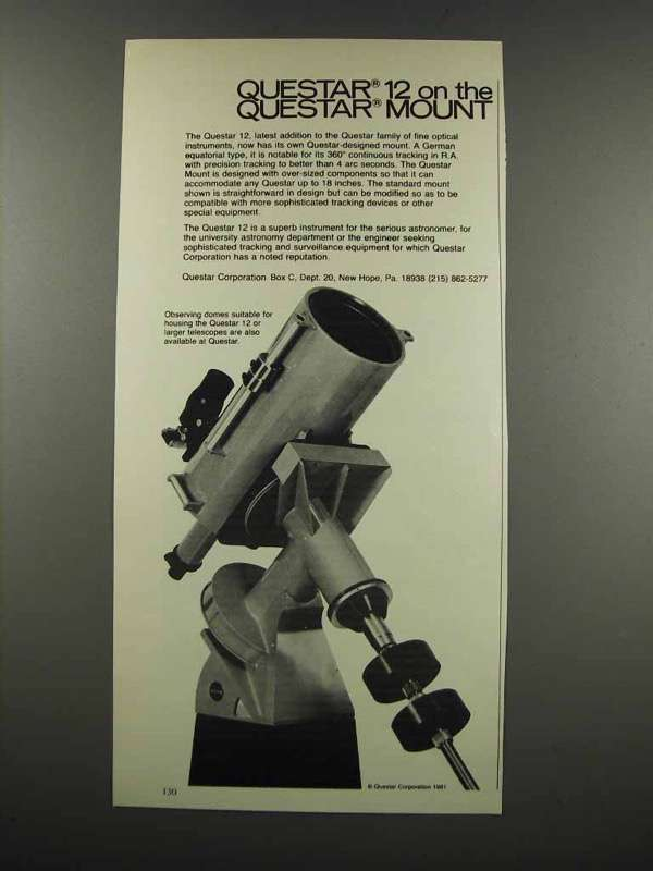 Primary image for 1983 Questar 12 Telescope Ad - On The Questar Mount