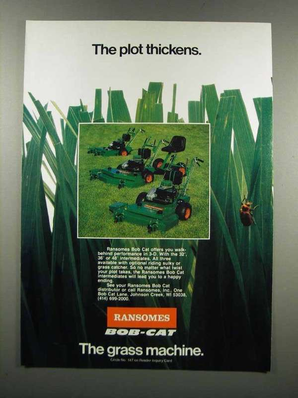 Primary image for 1983 Ransomes Bob-Cat Mowers Ad - Plot Thickens
