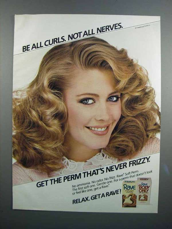 Primary image for 1983 Rave Perms Ad - Be All Curls Not All Nerves