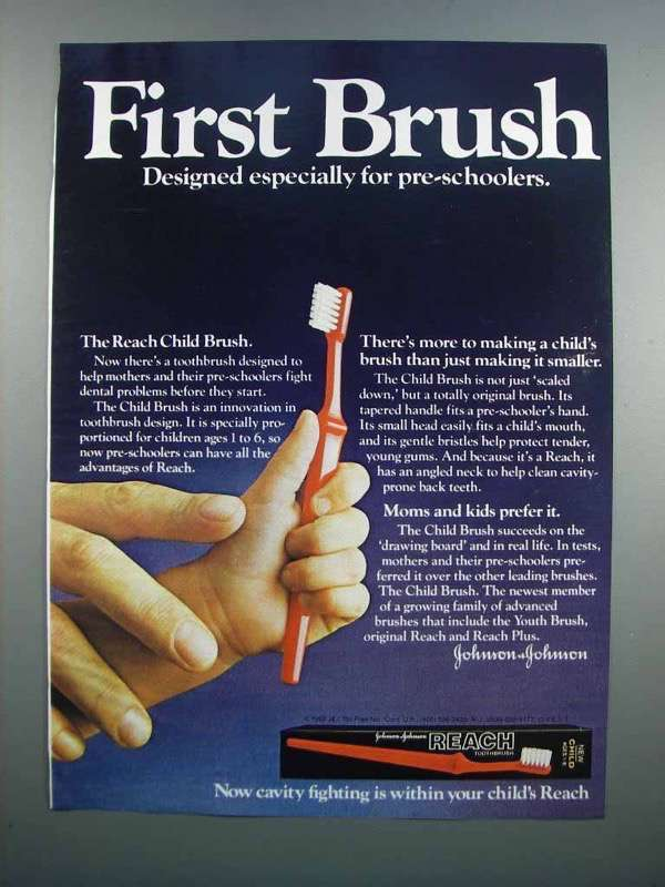 Primary image for 1983 Reach Child Brush Toothbrush Ad - First Brush