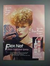 1983 Revlon Flex Net Clean Hold Hair Spray Ad - $14.99